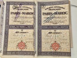 S.A.  FRANÇAISE  PARIS - MAROC --------Lot  De  2 Actions  De  100 Frs - Unclassified