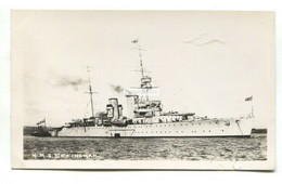 HMS Effingham, British Cruiser - Old Real Photo Postcard - Guerra