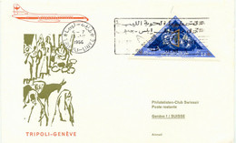 LIBYEN 1966 Kab.-Erstflug M. Caravelle Jet Der Kingdom Of Libya TRIPOLI - GENÈVE - Libia