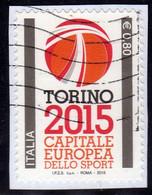 ITALIA REPUBBLICA ITALY REPUBLIC 2015 TORINO CAPITALE EUROPEA DELLO SPORT USATO USED OBLITERE' - 2011-...: Oblitérés