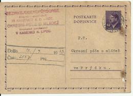 Postkarte From Kamenice N. Lipou To Frydek 1943. - Storia Postale