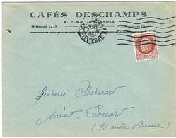 ENVELOPPE  A EN-TETE CAFE DESCHAMPS LIMOGES - 1921-1960: Periodo Moderno