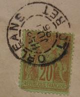 Orléans Loiret N°96 20c Brique Sur Vert, Seul Sur Lettre Pour La Caisse D'épargne De Fontainebleau - 1877-1920: Periodo Semi Moderno