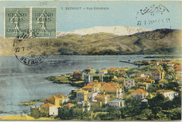 LIBANON 1924 75 C. A. 15 C. Graugrün Pra.-Paar A. Farbige Beyrout-AK, ABART! - Líbano