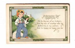 "POEM ""St. Patrick's Greeting. Oh, I'm The Son Of An Irishm'n........"" Pre-1915 Postcard, USA - Saint-Patrick's Day"