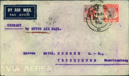 """1936, 25 And 40 C Georg V On Letter """"By Dutch Air Mail"""" From SINGAPORE To Trossingen, Württemberg - Singapore (...-1959)"""