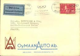 1948, Firmenbrief M. Automobilwerbung M. Maschinen-Werbestempel Für Die OLYMPISCHEN SPIELE 1952, Helsinki - Sommer 1952: Helsinki
