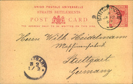 """1897, 3 Cents Stationery Card From """"SINGAPORE A JA 12 97"""" To Stuttgart. - Singapore (...-1959)"""