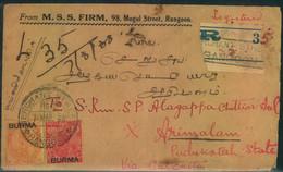 "1938, Registered Letter From ""MERCHANT STREET RANGOON"" To Arimalam - Birmania (...-1947)"