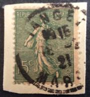 130 ° 24 Maroc Tanger Semeuse 15 C Vert Gris 1921 Oblitéré - 1877-1920: Periodo Semi Moderno
