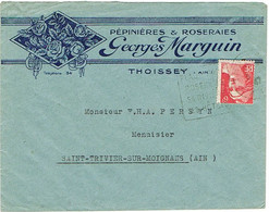 ENVELOPPE  A EN-TETE ILLUSTREE PEPINIERES ET ROSERAIES GEORGES MARGUIN THOISSEY - 1921-1960: Periodo Moderno