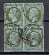 France 1860 Second Empire Yvert 11 Obliteres Bloc De Quatre. - 1853-1860 Napoleon III