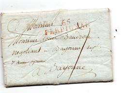 Bayonne Pour Figueras (catalogne). Retour Par Perpignan Sur Même Pli. Cursives Et Taxes Manuelle.Texte A Lire. - 1801-1848: Precursores XIX