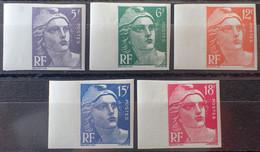 R1491/197 - 1951 - TYPE MARIANNE DE GANDON - ND - SERIE COMPLETE LUXE - N°883 à 887 NEUFS* BdF - Imperforates