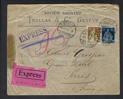 SUISSE 1916: LSC Express Affr. De 55c De Genève Pour Paris - Covers & Documents