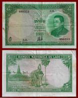 LAOS BANKNOTE - 5 KIP 1962 P#9b VF (NT#02) - Laos