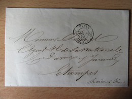 Cachet à Date En Port-Dû 25 Du 8 Septembre 1852 Sur Enveloppe - Paris Vers Etampes - 1849-1876: Klassieke Periode