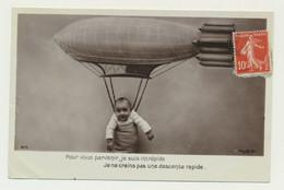 Carte Fantaisie - Dirigeable Zeppelin - Bébé Enfant - Aeronaves