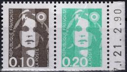FRANCE P2617 ** MNH Paire Marianne Du Bicentenaire Du Carnet + Marge Avec Date (CV >= 7 €) - Unused Stamps