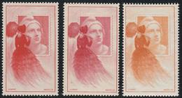 3 VIGNETTES* EXPO PHILATELIQUE 1949 - Marianne Gandon Par Mazelin - Briefmarkenmessen