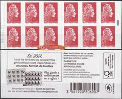 2021 - Y/T 1599 Type II - Marianne L'engagée Rouge (mention Philaposte Au Lieu De Phil@poste) AA - CARNET-NEUF - Nuovi