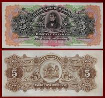 COSTA RICA BANKNOTE - 5 COLONES 1917 P-S122 Banco Anglo UNC (NT#02) - Costa Rica