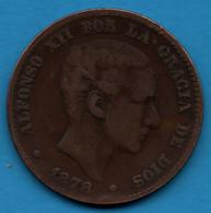 ESPANA 10 Centimos 1878 OM  KM# 675 ALFONSO XII POR LA GRACIA DE DIOS - First Minting