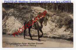 PRETRE-Cure-PASTEUR A Cheval Vers Les Tranchees-RELIGION-CARTE PHOTO Allemande-Guerre 14-18-1 WK-Militaria-Feldpost- - Guerra 1914-18