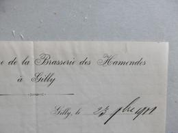 BRASSERIE Brouwerij Des Hamendes à GILLY 23 Septembre 1901 Signé - 1900 – 1949