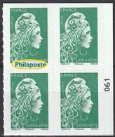 2021 - Y/T 1598 Type II - Marianne L'engagée Tarif Verte (mention Philaposte Au Lieu De Phil@poste) AA - BLOC 4 ** - Nuovi