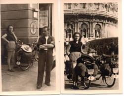Genova 1951 Agosto - 2 Photo 5.5x8.5cm Velo-moto Solex - Lugares