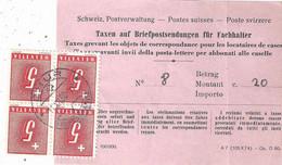 """PostForm 3201  """"Taxen Auf Briefpostsendungen Für Fachhalter""""  Chur               1950 - Brieven En Documenten"""
