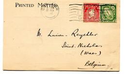 1932 Printed Matter Card Corcaigh Cork University Library To Belgium - BUY IRISH GOODS - Storia Postale