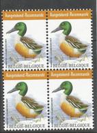 OCB 4537 Postfris Zonder Scharnier ** In Blok Van 4 - 1985-.. Pájaros (Buzin)