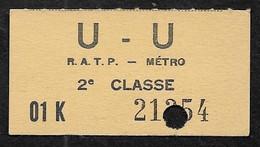 Ticket METRO RATP 2e Classe U - U - Europe