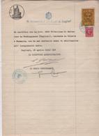 ^ CAGLIARI OPPO POTENZIA BUSINCO FORDONGIANUS ORISTANO MARCA DA BOLLO FASCISMO DOCUMENTO D - Historische Dokumente