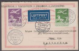 1930. DANMARK. Air Mail 15 + 10 øre On BREVKORT From KØBENHAVN LUFTPOST 16.5.30. To H... (Michel 143-144) - JF416450 - Airmail