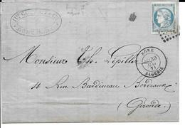 Lac Cad BONE (algerie) 30 Mai 1871 Tp No45  Pour Bordeaux TB - 1849-1876: Classic Period