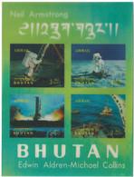 C1550 Bhutan Space Manned Flight Spacecraft Apollo-11 Astronaut S/S 3D Plastic - Asia