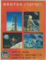C1557 Bhutan Space Manned Flight Spacecraft Apollo-16 Astronaut S/S 3D Plastic - Asia