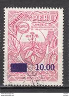 Pérou, Peru, (10.00), Tabac, Tobacco, Cigare, Cigar, Airmail, Surimpression, Overprint - Tabak