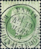 """FRANCE - Yv.53 5c Vert (lettres Blanches) Obl. CàD """" PARIS / R.CARDINAL-LEMOINE """" - (défauts) - 1849-1876: Periodo Clásico"""