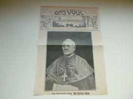 """Origineel Knipsel ( 3625 ) Uit Tijdschrift  """" Ons Volk """"  1913 : Mgr.  Rutten  Geystingen ( Maaseik )  - Niet Kompleet - Unclassified"""
