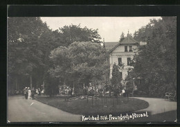 AK Karlsbad, Park Gegen Cafe Freundschaftssaal - República Checa