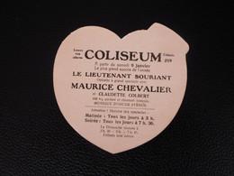 Coliseum Charleroi Ancienne Publicité Coeur Pour Opérette Maurice Chevalier Et Claudette Colbert  Le Lieutenant Souriant - Objets Dérivés