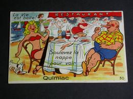Ref6269 CPA Fantaisie à Système - Soulève La Nappe Pour Voir QUIMIAC - Scène De Plage Restaurant Dessin N°30 - Met Mechanische Systemen