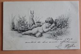 Ange Anges   Nu Dormant Dans La Nature Lapin 1903 - Angels