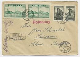 POLAND POLSKA 1ZTX2 +3.50ZT X8 LETTE COVER GLIWICE 3.XII.1947 POUR SUISSE + POLECONY - Covers & Documents