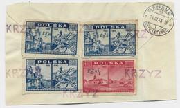 POLAND POLSKA  3ZTX3+1ZT50  FRONT COVER DEVANT LETTRE GRIFFE KRZYZ 1946 - Briefe U. Dokumente