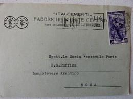 BERGAMO - FABBRICHE RIUNITE ITALCEMENTI  PUBBLICITARIA SPEDITA DALLA CEMENTERIA DI CIVITAVECCHIA - Bergamo